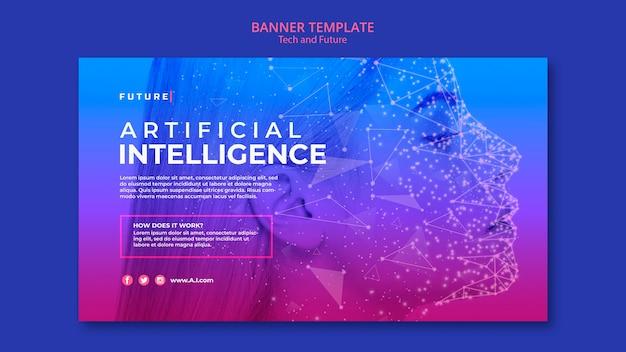 Plantilla de banner de concepto tecnológico y futuro con imagen