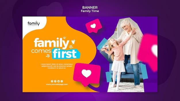 Plantilla de banner de concepto de tiempo en familia