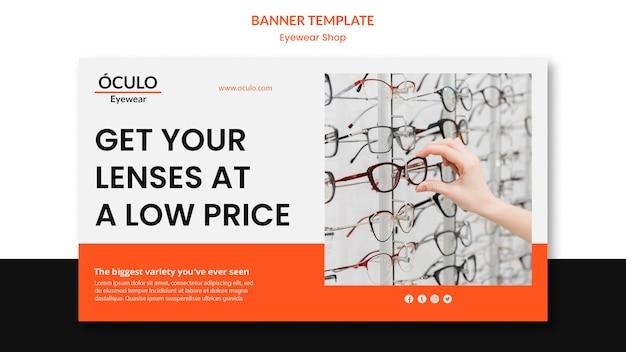 Plantilla de banner de concepto de tienda de gafas