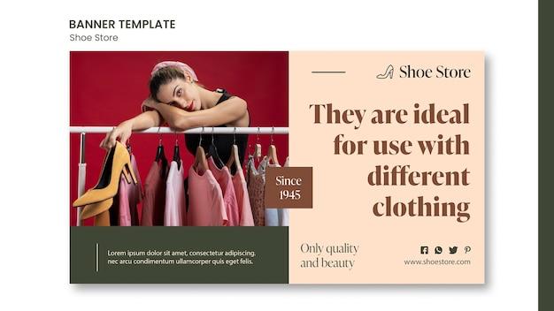 Plantilla de banner de concepto de tienda de zapatos