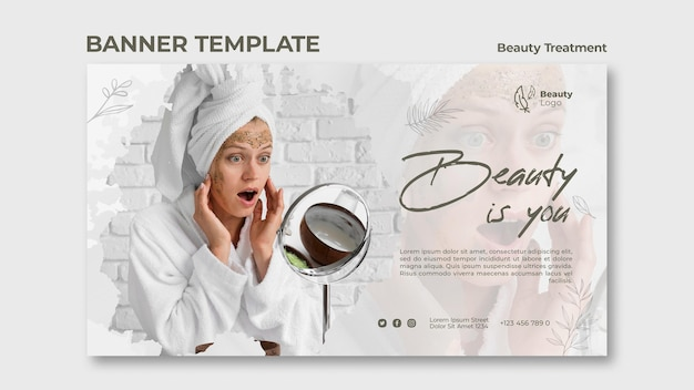 Plantilla de banner de concepto de tratamiento de belleza