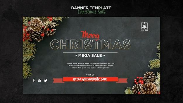 Plantilla de banner de concepto de venta de navidad