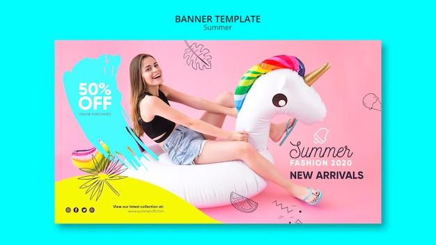 Plantilla de banner con concepto de venta de verano