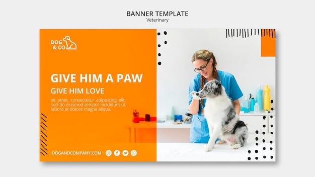 Plantilla de banner con concepto veterinario
