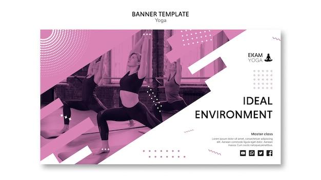 Plantilla de banner con concepto de yoga