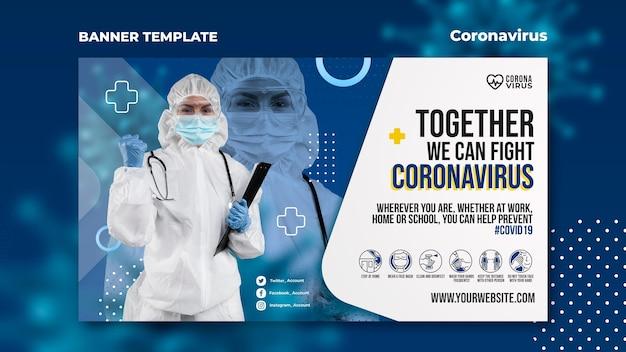 Plantilla de banner para concientización sobre el coronavirus