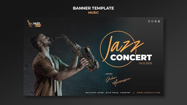 Plantilla de banner de concierto de jazz