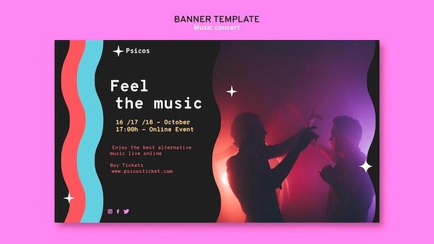 Plantilla de banner de concierto de música moderna