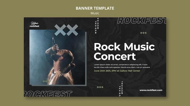 Plantilla de banner de concierto de música rock