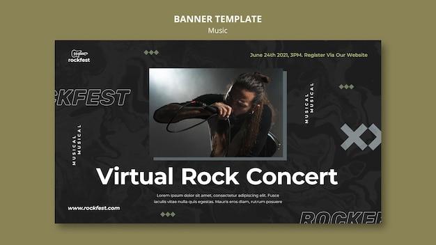 Plantilla de banner de concierto de rock virtual