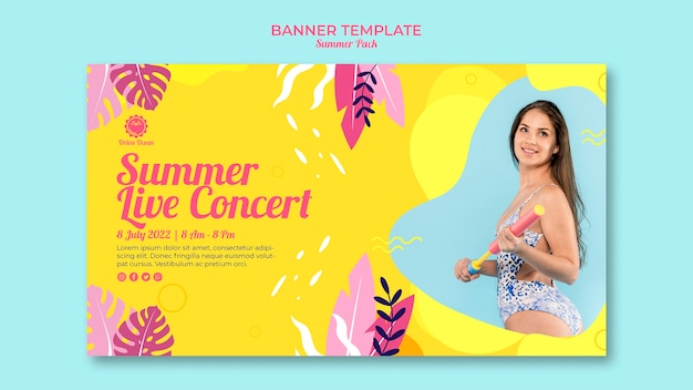 Plantilla de banner de concierto en vivo de verano
