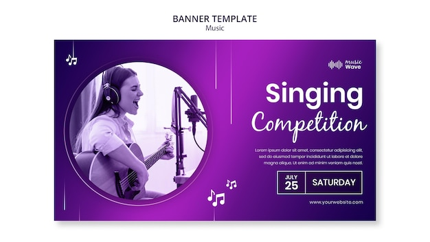 Plantilla de banner de concurso de canto