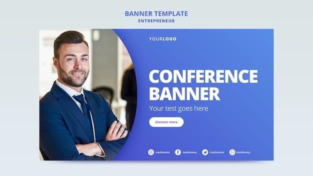 Plantilla de banner para conferencia de negocios