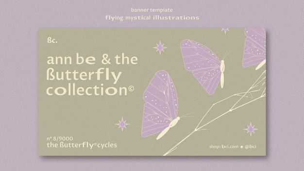 Plantilla de banner de conjunto de mariposa mística voladora