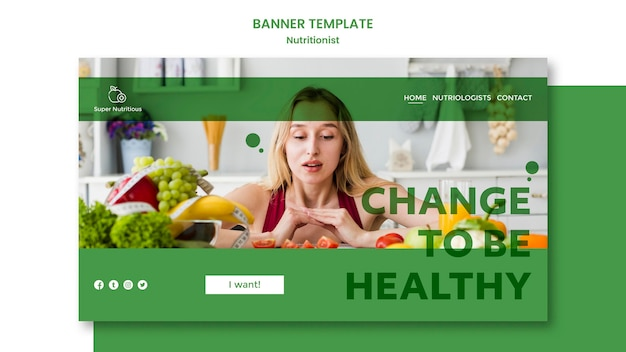 Plantilla de banner con consejos nutricionistas