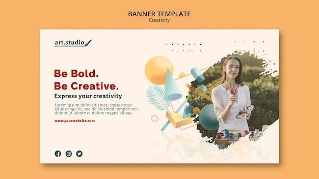 Plantilla de banner de creatividad con foto
