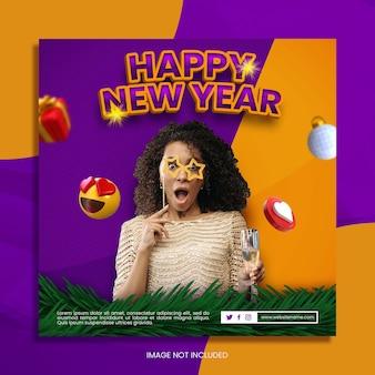 Plantilla de banner cuadrado para celebración de año nuevo