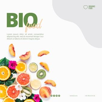 Plantilla de banner cuadrado de comida bio