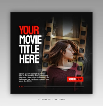 Plantilla de banner cuadrado con marco de película o película