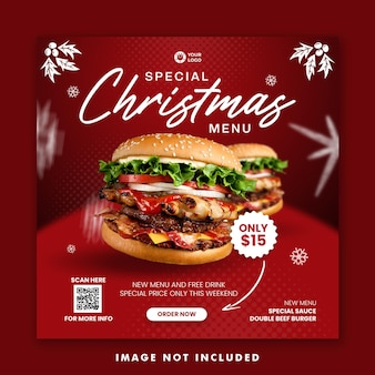 Plantilla de banner cuadrado de publicación de redes sociales de menú de comida de hamburguesa navideña