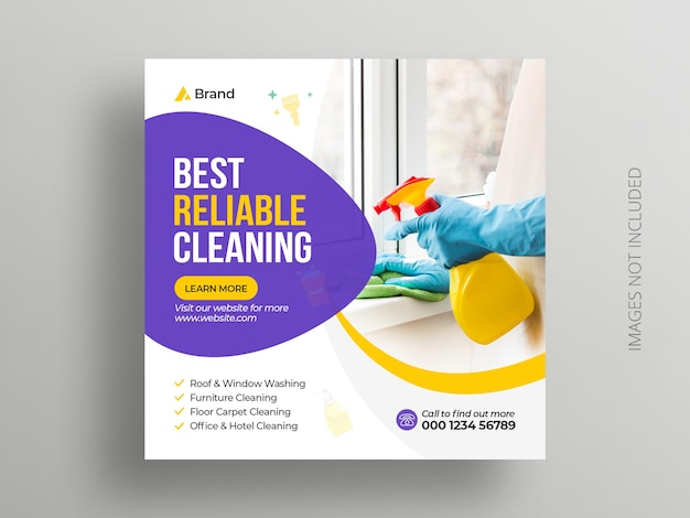 Plantilla de banner cuadrado de publicación de redes sociales de servicio de limpieza