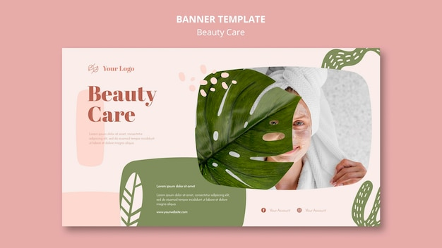 Plantilla de banner de cuidado de belleza