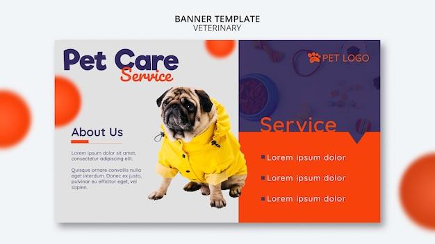 Plantilla de banner para el cuidado de mascotas con perro