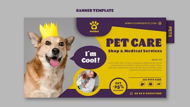 Plantilla de banner de cuidado de mascotas