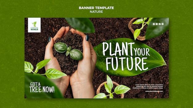 Plantilla de banner de cultivo de plantas