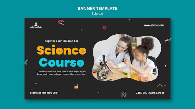 Plantilla de banner de curso de ciencias