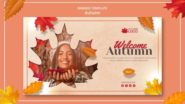 Plantilla de banner para dar la bienvenida a la temporada de otoño