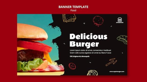 Plantilla de banner de deliciosa hamburguesa