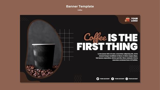 Plantilla de banner de delicioso café