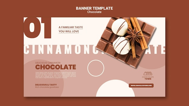 Plantilla de banner de delicioso chocolate