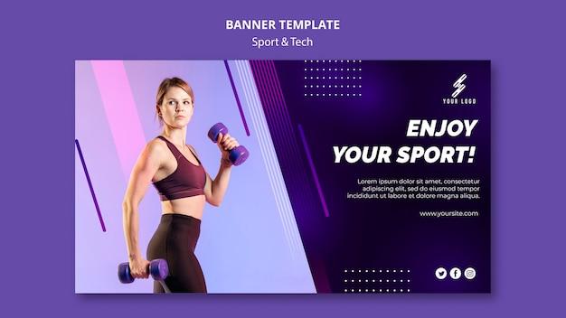 Plantilla de banner de deportes y tecnología con foto