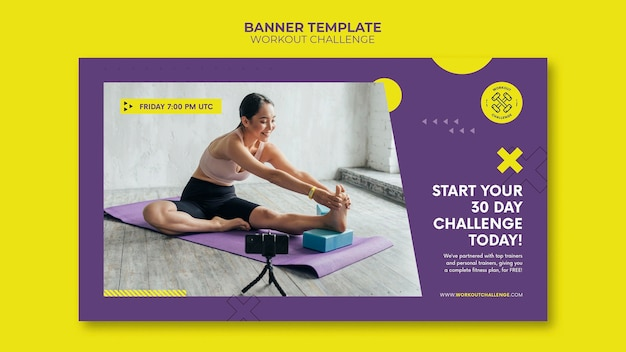 Plantilla de banner de desafío de entrenamiento