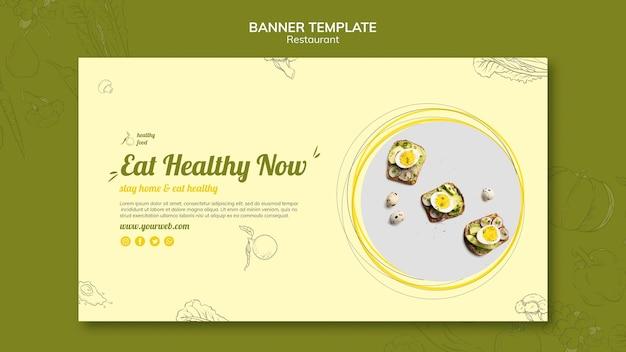 Plantilla de banner para desayuno saludable con bocadillos.
