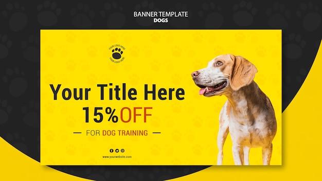 Plantilla de banner de descuento de entrenamiento de perros