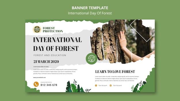 Plantilla de banner para día de bosque con naturaleza.
