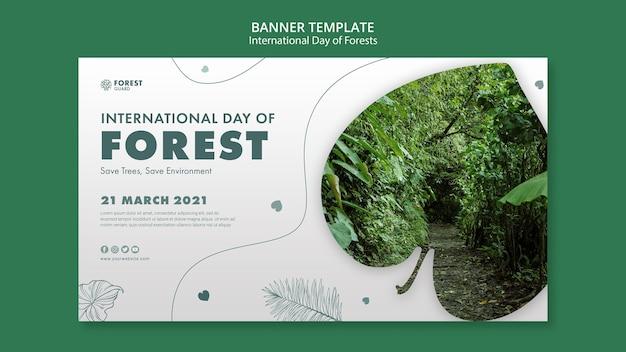 Plantilla de banner del día de los bosques con foto