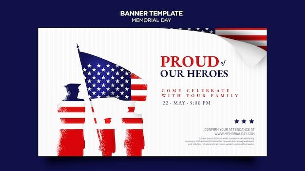 Plantilla de banner del día de los caídos con bandera
