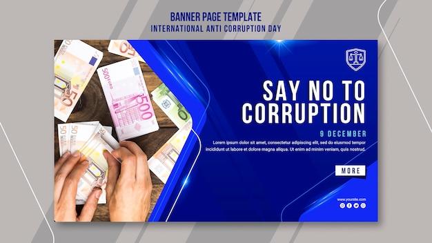 Plantilla de banner del día contra la corrupción