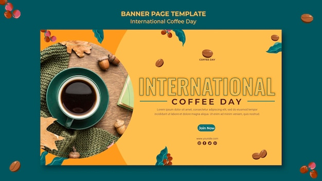Plantilla de banner del día internacional del café