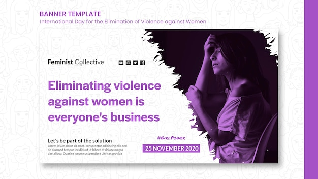 Plantilla de banner para el día internacional para la eliminación de la violencia contra la mujer