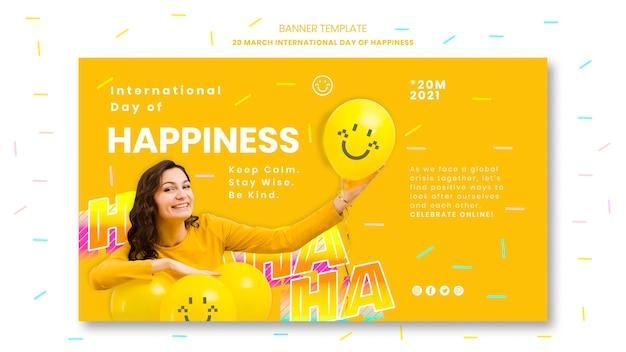 Plantilla de banner del día internacional de la felicidad