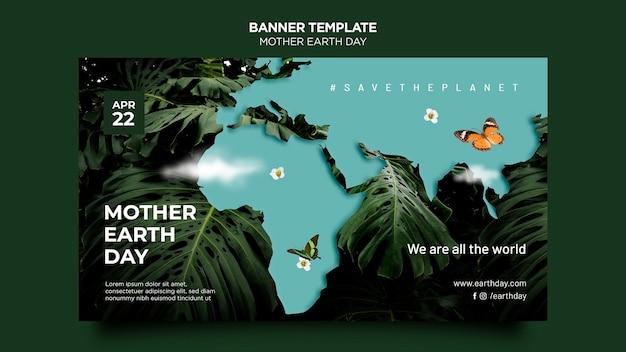 Plantilla de banner del día de la madre tierra