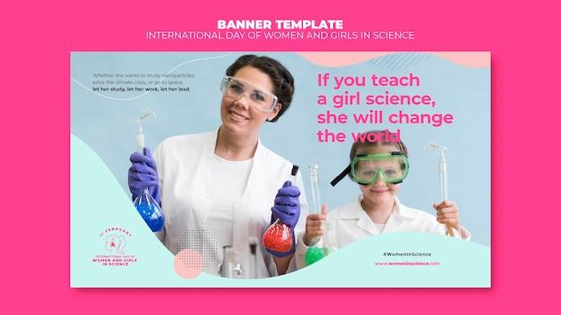 Plantilla de banner del día de la mujer y la niña en la ciencia