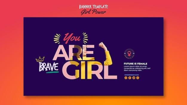 Plantilla de banner para el día de la mujer con palabras de poder