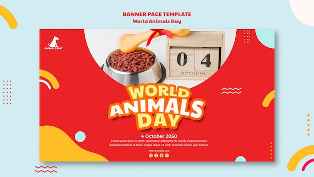 Plantilla de banner del día mundial de los animales