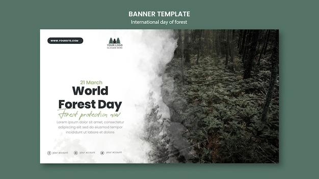 Plantilla de banner del día mundial de los bosques